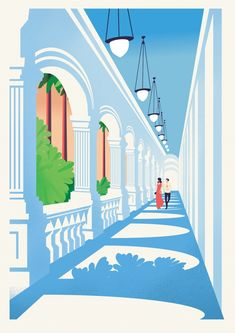 Raffles Singapore by Pietari Posti Travel Illustration, Graphic Illustration, Posca Marker, Posca Art, Colonial Architecture, Wow Art, Artist Art, Painting Inspiration, Painting & Drawing
