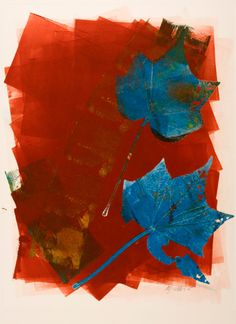Original art monoprint by Mariann Johansen-Ellis | Leaves were collected on a walk round the countryside. Then, on the worktable they were inked up with a roller in different colors, printed, overlayed, turned over and printed again, a truly free flowing creative way of making a print