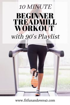 Fun and Quick 10 minute beginner treadmill workout. Whether you are short on time or adding on to a longer workout this will get your heartpumping and give you a good workout. #10minutetreadmillworkout #beginnertreadmillworkout #90splaylist
