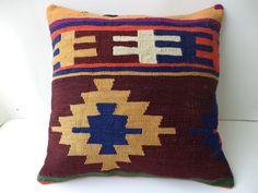 "Turkish Pillow Cover,20""x20"" inch Decorative Turkish Kilim Rug Pillow Cover,Handmade Pillow,Aztec Pillow,Ethnic Pillow,Throw Pillow Cover."