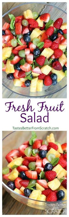 This Fresh fruit salad is made with strawberries, pineapple, blueberries, and other fresh fruit along with hints of orange and mint. | tastesbetterfromscratch.com