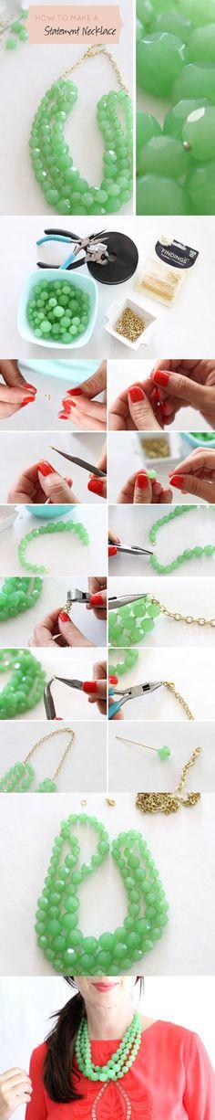 DIY Statement Necklace diy crafts craft ideas easy crafts diy ideas crafty easy diy diy jewelry craft necklace diy necklace jewelry diy diy necklace tutorial