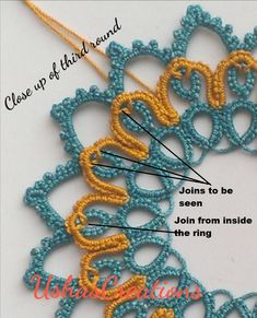 UshasCreations: The Dreamcatcher Tatting Necklace, Tatting Jewelry, Tatting Lace, String Crafts, Yarn Crafts, Tatting Patterns Free, Crochet Patterns, Needle Tatting Tutorial, Crochet Collar