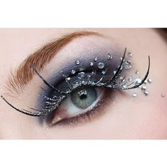 Dramatic eye makeup- claw false lashes and rhinestones Dramatic Eye Makeup, Unique Makeup, Jewel Makeup, Sparkle Makeup, Stunning Makeup, Prom Makeup, Hair Makeup, Ice Queen, Snow Queen