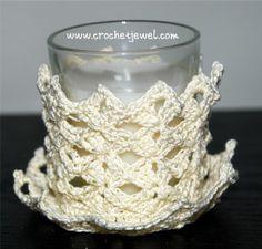 candle holder I made, Crochet Candle Holder |