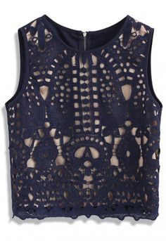- Sleeveless design - Baroque style pattern crochet overlay - Back zip closure - Scrolled hemline - Lined - 100% polyester - Hand wash Size (cm)Length Bust Waist S 47 84 82 M 47 88 86 Size(inch)Length Bust Waist S 18.5 33 32 M 18.5 34.5 33.5 * S fits for US0-2, UK6-8, EU34-36 * M fits for US4-6, UK10, EU38 * Our model is 178 cm/5'10