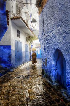 Blue Rain in Chefchaouen, Morocco