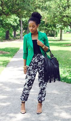 Fashionista Jessica P. of Virginia Beach wearing Charlotte Russe jumpsuit, blazer and fringe purse in her latest outfit of the day!