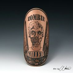 Zombie, bike badge, head badge, bicycle accessories, cycling accessories, bicycle badge, bike art, zombie killer, zombie art