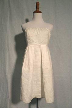JCrew Solid White Embossed Lorelei Strapless Cotton Dress 6P #Jcrew #Sundress #Casual