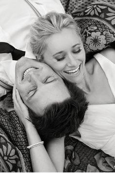 "lying down together -- heads on each others shoulders - can have them reach arms up and hold hands or caress the other person's chin (whatever they are comfortable with) * avoid ""armpit"" shots! - eyes closed, smiling, laughing  - can have them turn towards each other and look into their eyes - can be bodies in same direction or opposite directions!"