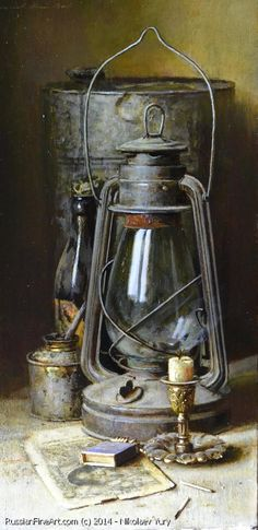 "Yury Nikolaev (Russian, born 1964) ""Still Life With The Lamp"" ~ canvas on oil I love the stlye and how realistic it is i also love the compostion of the objects"