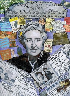 Agatha Christie Hommage Mixed Media Collage on Wood Panel by Chery Holmes www.crackerjackcollage.etsy.com