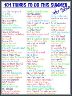 101 Things to Do This Summer: A list for kids. - 101 Things to Do This Summer: A list for kids. 101 Things to Do This Summer: A list for kids. 101 T - Fun Summer Activities, Summer Games, Summer Activities For Kids, Family Activities, Games For Kids, Children Activities, Summer Fun For Kids, Summer Fun List, Summer Bucket Lists