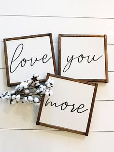 These adorable signs are painted white and gray finished with a beautiful special walnut stain Measures Aprox 12x12 Comes with 3 12x12s These would be adorable in any FARMHOUSE bedroom Customizable to any size and quotes. Let us know and we would love to work with you Be sure