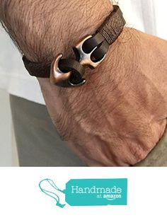 Mens leather navy bracelet with anchor Closure Macrame Square Knot, Nautical Bracelet, Gifts For My Boyfriend, Leather Men, Brown Leather, Bracelets For Men, Leather Bracelets, Gifts For Father, Dark Brown