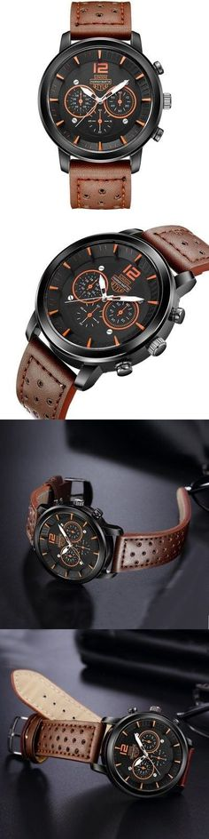 Men Sports Casual Outdoor Breathable Leather Band Quartz Watch 1PC-$15.27