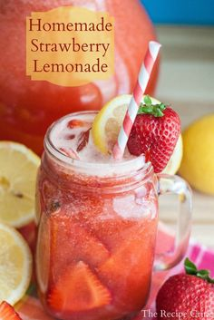 This Homemade Strawberry Lemonade is so refreshing and amazing and perfect with those fresh summer strawberries!