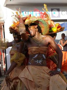 Guadeloupe Carnaval dancers. (Guadeloupe, Overseas Department of France, Lesser Antilles, Caribbean)