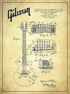 Mccarty Gibson Les Paul guitar patent Drawing from 1955 - Vintage Poster by Aged Pixel. Choose from multiple sizes and hundreds of frame and mat options. Guitar Art, Music Guitar, Cool Guitar, Guitar Body, Vintage Prints, Vintage Posters, Vintage Canvas, Rick E, Instruments