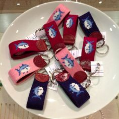 Needlepoint Southern Tide keychains. So cute for your car keys