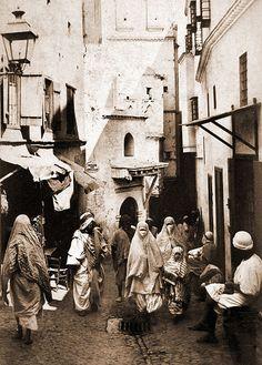 """Algiers by ookami_dou, via Flickr  """"Une rue de la Casbah"""".   Albumen print, ca 1900"""