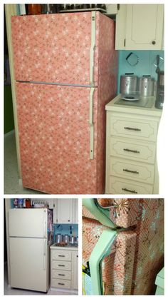 My Five dollar Fridge Makeover with Vintage inspired Contact Paper