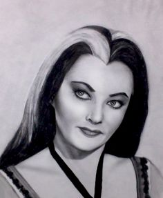 "Yvonne DeCarlo as Lily Munster on ""The Munsters"" Amazing Drawings, Amazing Art, Pencil Art, Pencil Drawings, Lily Munster, Yvonne De Carlo, Etch A Sketch, Marilyn Monroe Art, The Munsters"