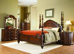 HE-1390-5PC 5 pc Prenzo collection cherry finish wood carved accents 4 poster bedroom set