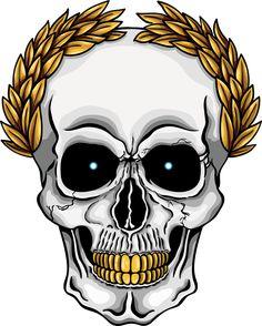 Illustration of human skull with golden laurel crown and golden teeth