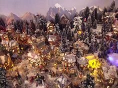 An amazing backdrop really sets the scene Christmas Tree Village, Christmas Town, Christmas Villages, Christmas Is Coming, Christmas 2015, All Things Christmas, Christmas Wreaths, Christmas Decorations, Xmas