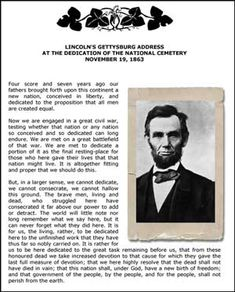 Abraham Lincoln's Gettysburg Address Copywork    perfect for Maggie.  She has loved Abe Lincoln and Civil War stuff since she was in K.  -B