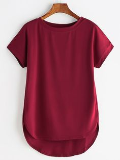 To find out about the High Low Curved Hem Tshirt at SHEIN, part of our latest T-Shirts ready to shop online today! Types Of Sleeves, Short Sleeves, Elegant Woman, Cool T Shirts, Trendy Outfits, Fashion Dresses, Ootd Fashion, Fashion Black, Fashion Ideas