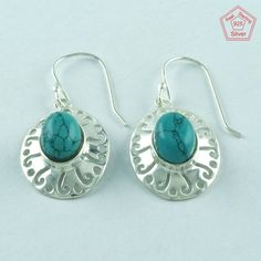 TURQUOISE STONE 925 STERLING SILVER MODERN EARRINGS FOR LOVED ONES E3024 #SilvexImagesIndiaPvtLtd #DropDangle
