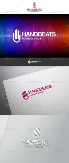 Hand Beats Logo — Vector EPS #corporate #violet