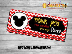 Printable Mickey bag toppers- DIY birthday bags - Mickey Birthday Labels - Happy -birthday - Printable Mickey Decoration-Bag toppers by Chumelito on Etsy