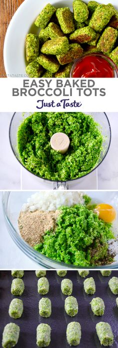 Easy Baked Broccoli Tots recipe from justataste co Healthy Appetizers, Healthy Snacks, Healthy Eating, Healthy Recipes, Simple Appetizers, Delicious Recipes, Baby Food Recipes, Cooking Recipes, Dip Recipes