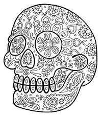Sugar Skull Coloring Pages: A Printable E-book of 21 Sugar Skull Designs to Color Skull Coloring Pages, Mandala Coloring Pages, Coloring Pages To Print, Coloring Book Pages, Printable Coloring Pages, Coloring Sheets, Adult Coloring, Free Printable, Sugar Skull Design