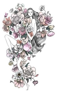 This is a Laura Laine fashion illustration. I like how the proportions of the girl aren't accurate, it makes it more creative and spontaneous. I also like how the flowers are incorporated.