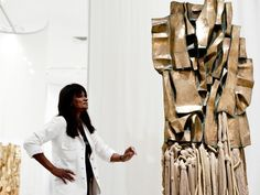 "Barbara Chase-Riboud with one of the pieces in her ""Malcolm X Steles"" series."