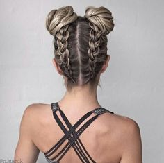 super cute french braids from the bottom up into space buns