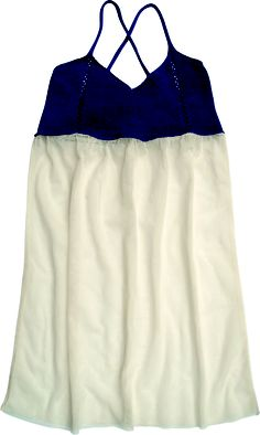 Tulle dress, blu and natural color. 100% cotton