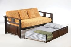 Bunk Beds And More And Brown Black Stained Wooden Sofa Trundle Bunk With Wooden Armrest And Orange Flower Pattern Linen Fabric Seat Also Murphy Bed, Amazing Useful Convertible Bunk Beds For Kids And Teenage Bedroom Decoration: Bedroom, Furniture
