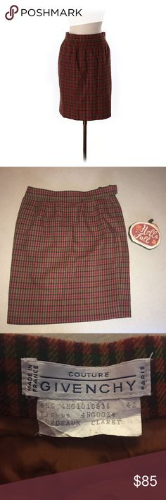"""Givenchy Couture Vintage Plaid Skirt 42 EU or US 8 Givenchy Couture - Plaid Skirt - Size 42 EU or US size 8  Waist - 15"""" - No stretch in the waist  Length - 21.5"""" Materials - 60% Wool 10% Cashmere 30% Polyester Givenchy Skirts"""