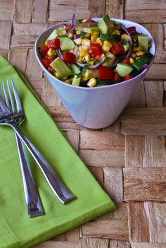fresh, chopped salad with cilantro vinaigrette