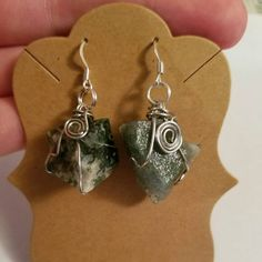 NEW! Raw Moss Agate Stone Dangle Earrings ~ Copper Wire Wrapped