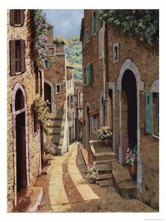 Featured Art - Un Passaggio Tra Le Case by Guido Borelli Italian Painters, Italian Artist, Canvas Art, Canvas Prints, Art Prints, Image Fruit, Italian Village, Images Vintage, Image Nature