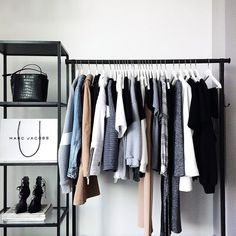10 Gorgeous Open Closet Ideas For Innovative Home Office Inspiration, Industrial Storage Racks, Closet Interior, Organizar Closet, Kleidung Design, Vide Dressing, Dressing Room, Room Goals, Home And Deco