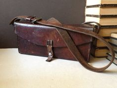 Swiss Army Leather Bag Messenger Medic Soldier by JansVintageStuff