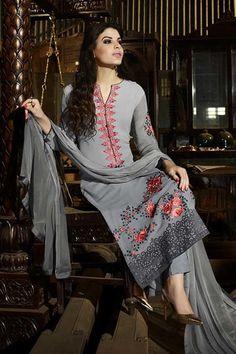 #Grey pure #georgette magnetic a line #kameez with #resham thread work -SL5376